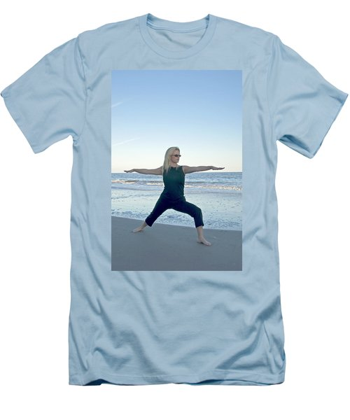 Yoga Woman On The Beach Men's T-Shirt (Athletic Fit)