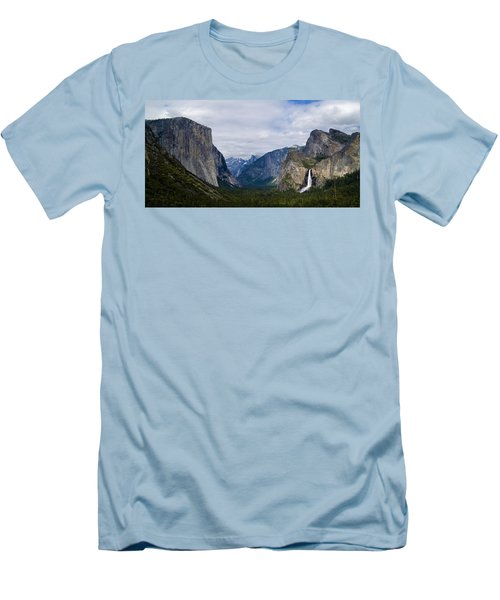 Yosemite Valley Panoramic Men's T-Shirt (Slim Fit) by Bill Gallagher