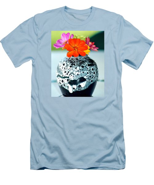 Men's T-Shirt (Slim Fit) featuring the photograph Zinnia In Vase by Lehua Pekelo-Stearns