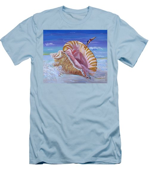 Magic Conch Shell Men's T-Shirt (Slim Fit) by Phyllis Kaltenbach