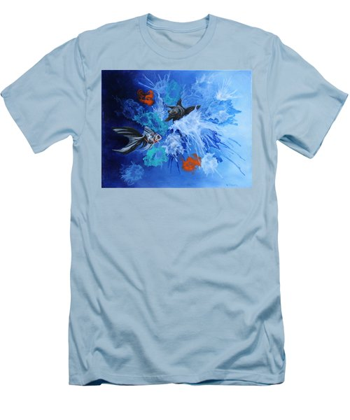 Men's T-Shirt (Slim Fit) featuring the painting Richies Fish by Wendy Shoults
