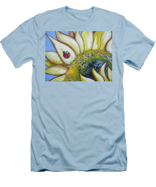 Sunflower And Ladybug Men's T-Shirt (Athletic Fit)