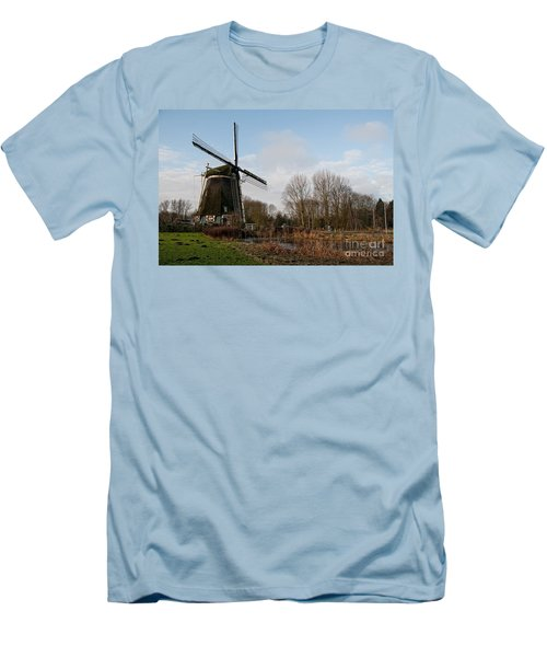 Windmill In Amsterdam Men's T-Shirt (Slim Fit) by Carol Ailles