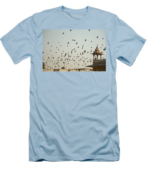 A Flock Of Pigeons Crowding One Of The Structures On Top Of The Red Fort Men's T-Shirt (Slim Fit) by Ashish Agarwal