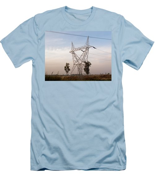 A Transmission Tower Carrying Electric Lines In The Countryside Men's T-Shirt (Slim Fit) by Ashish Agarwal
