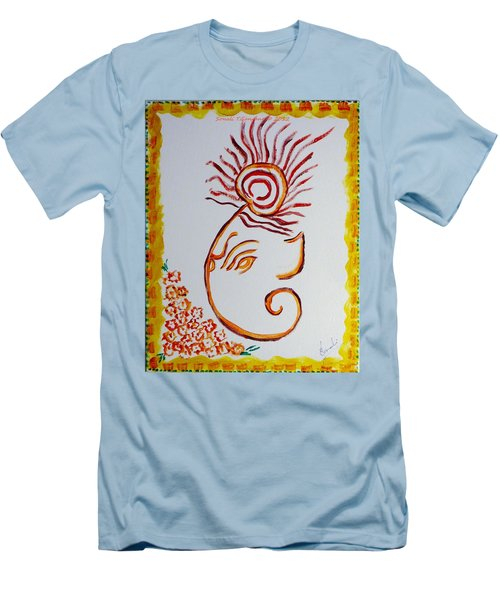 Men's T-Shirt (Slim Fit) featuring the painting Artistic Lord Ganesha by Sonali Gangane