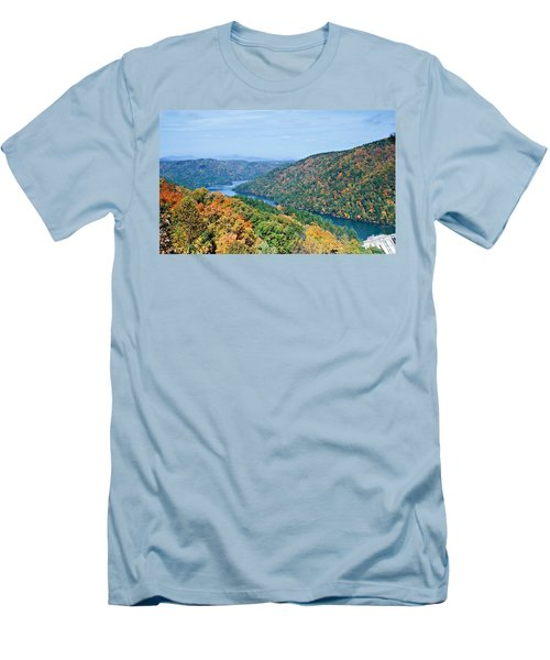 Men's T-Shirt (Slim Fit) featuring the photograph Autumn At Lake Tugalo by Susan Leggett