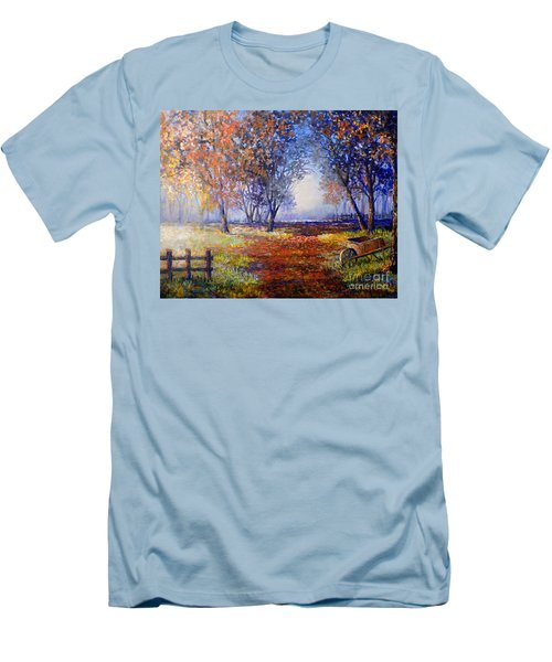 Autumn Wheelbarrow Men's T-Shirt (Slim Fit) by Lou Ann Bagnall