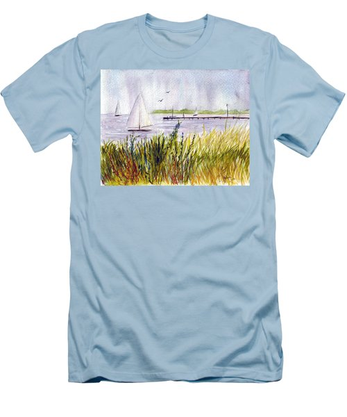 Men's T-Shirt (Slim Fit) featuring the painting Barnegat Sails by Clara Sue Beym