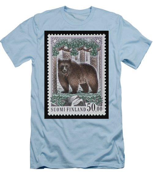 Bear Vintage Postage Stamp Print Men's T-Shirt (Athletic Fit)