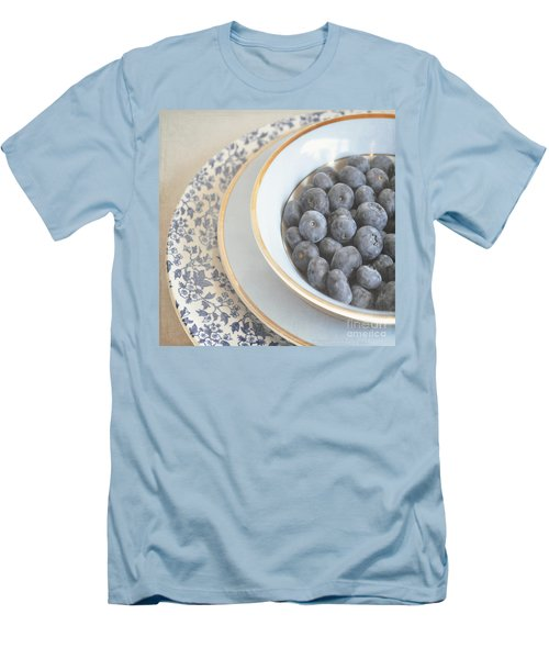 Blueberries In Blue And White China Bowl Men's T-Shirt (Slim Fit) by Lyn Randle