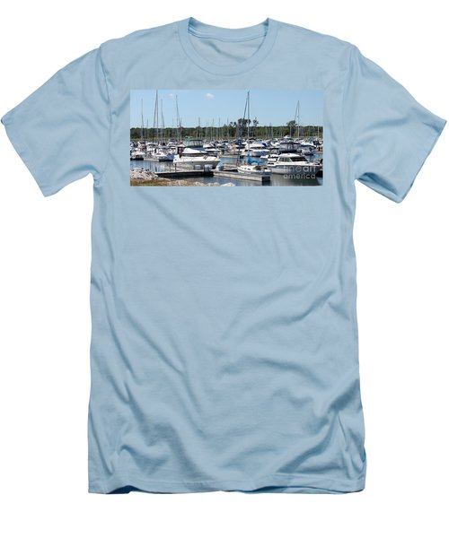 Men's T-Shirt (Slim Fit) featuring the photograph Boats At Winthrop Harbor by Debbie Hart
