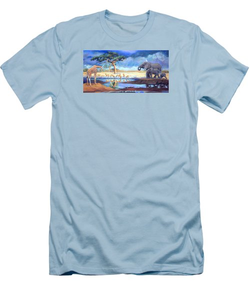 Botswana Watering Hole Men's T-Shirt (Athletic Fit)