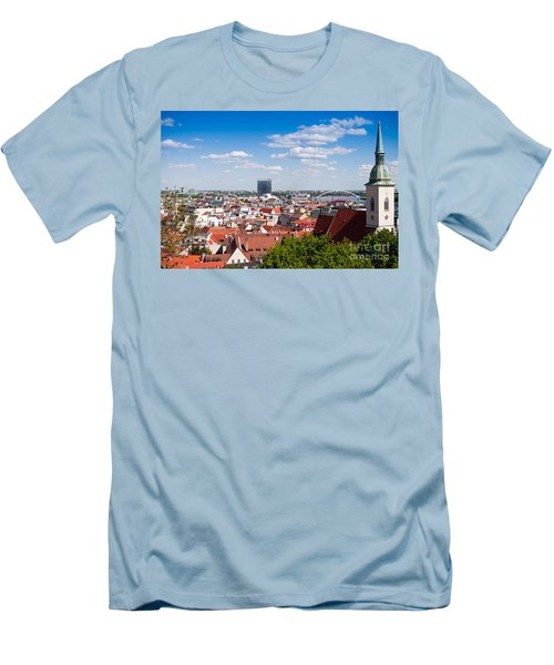 Men's T-Shirt (Slim Fit) featuring the photograph Bratislava Roofs by Les Palenik
