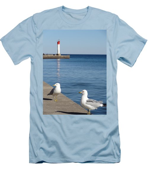 Men's T-Shirt (Slim Fit) featuring the photograph Bronte Lighthouse Gulls by Laurel Best