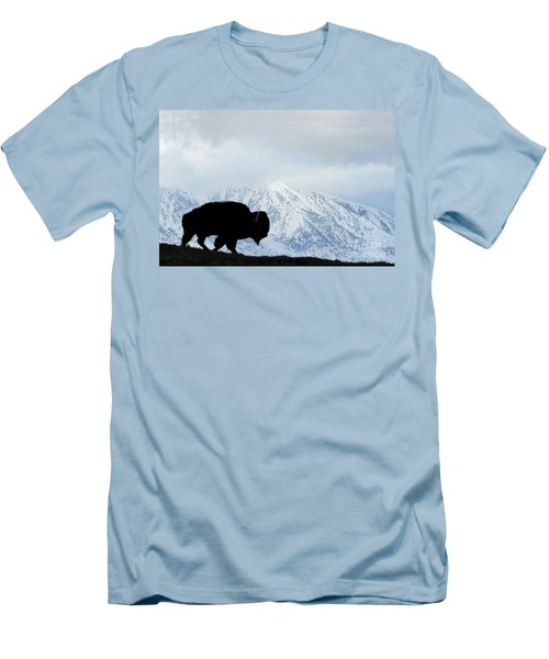 Men's T-Shirt (Slim Fit) featuring the photograph Buffalo Suvived Another Yellowstone Winter by Dan Friend