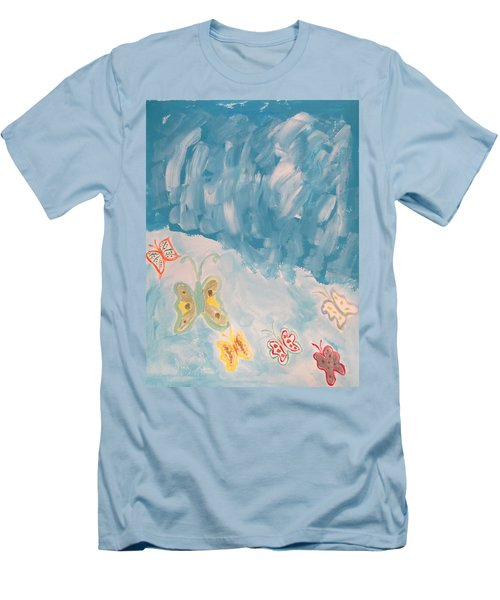 Men's T-Shirt (Slim Fit) featuring the painting Butterfly Flight by Sonali Gangane