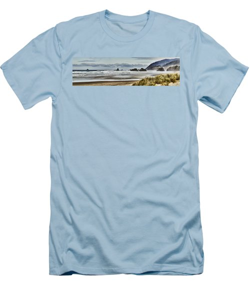 By The Sea - Seaside Oregon State  Men's T-Shirt (Slim Fit) by James Heckt