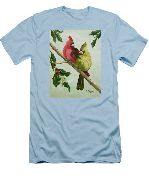 Cardinals With Holly Men's T-Shirt (Athletic Fit)