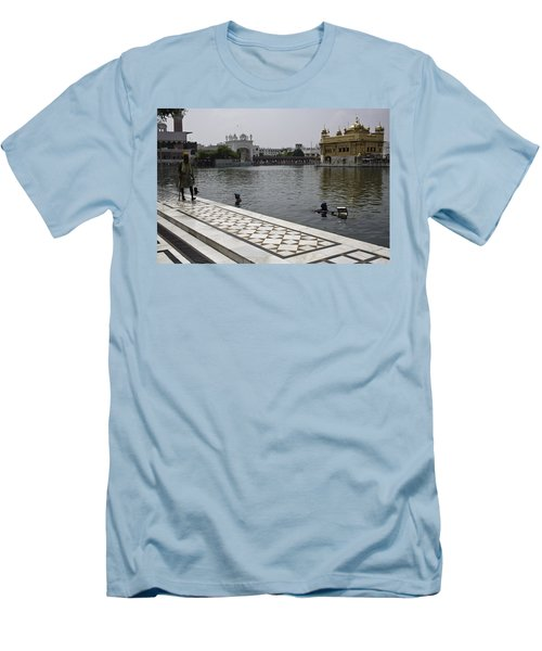 Clearing The Sarovar Inside The Golden Temple Resorvoir Men's T-Shirt (Slim Fit) by Ashish Agarwal