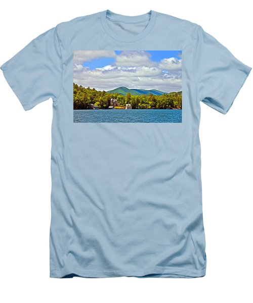 Distant Lake View In Spring Men's T-Shirt (Slim Fit) by Susan Leggett