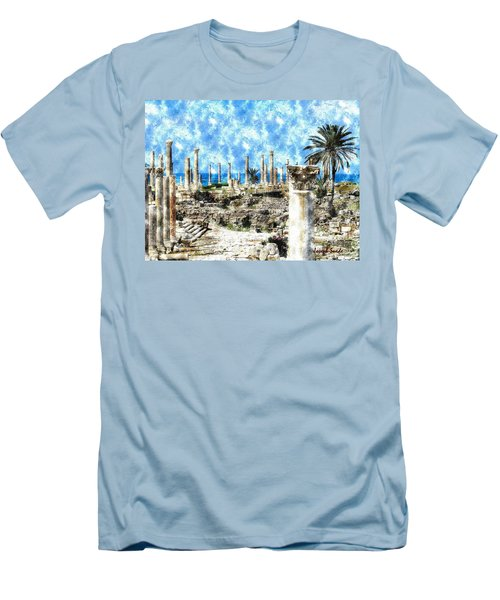 Men's T-Shirt (Athletic Fit) featuring the photograph Do-00549 Ruins And Columns - Town Of Tyr by Digital Oil