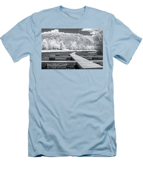 Men's T-Shirt (Slim Fit) featuring the photograph Dock In Infrared by Mary Almond