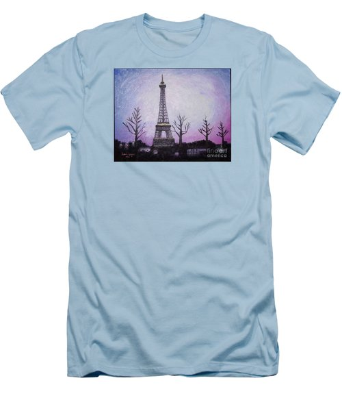 Eiffel At Night Men's T-Shirt (Athletic Fit)