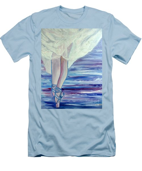 Men's T-Shirt (Slim Fit) featuring the painting En Pointe by Julie Brugh Riffey