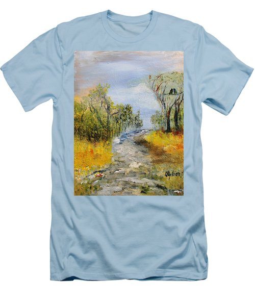 Men's T-Shirt (Slim Fit) featuring the painting Evening Romance by Evelina Popilian