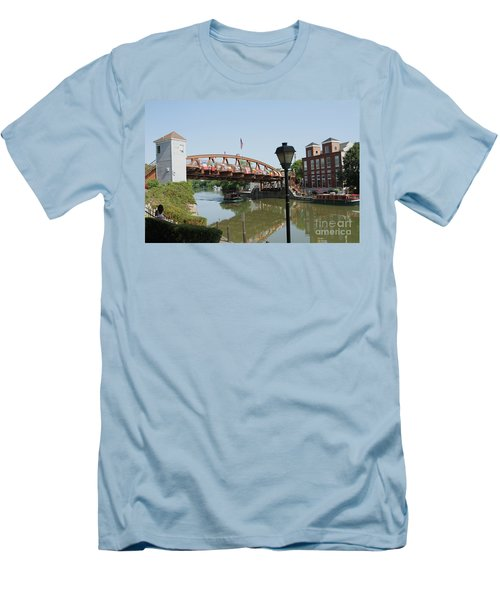 Men's T-Shirt (Slim Fit) featuring the photograph Fairport Lift Bridge by William Norton