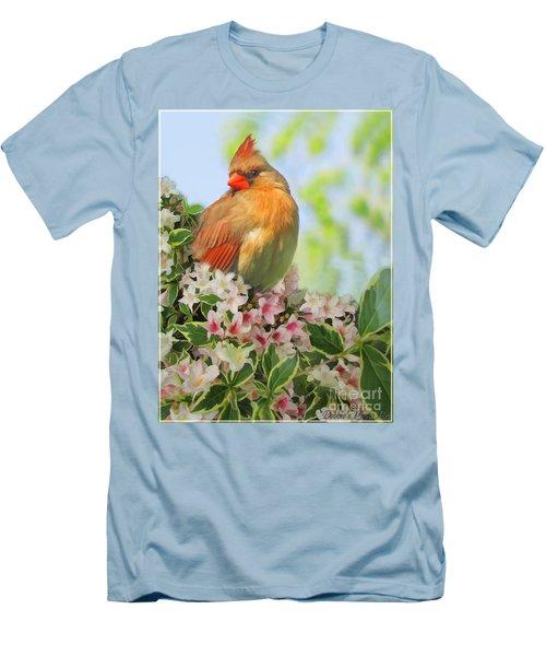 Men's T-Shirt (Slim Fit) featuring the photograph Female Cardnial In Wegia Digital Art by Debbie Portwood