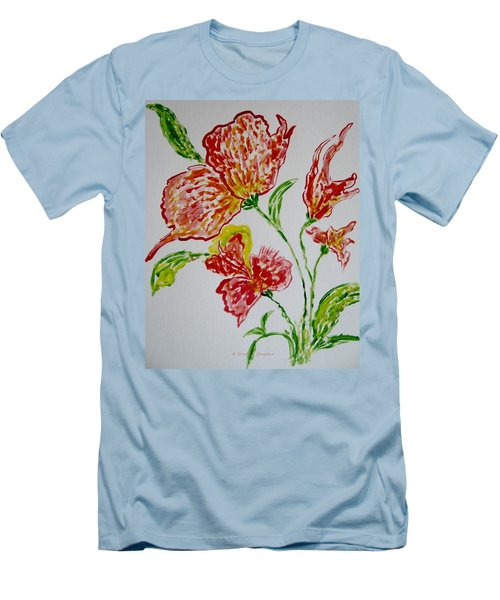Men's T-Shirt (Slim Fit) featuring the painting Florals by Sonali Gangane
