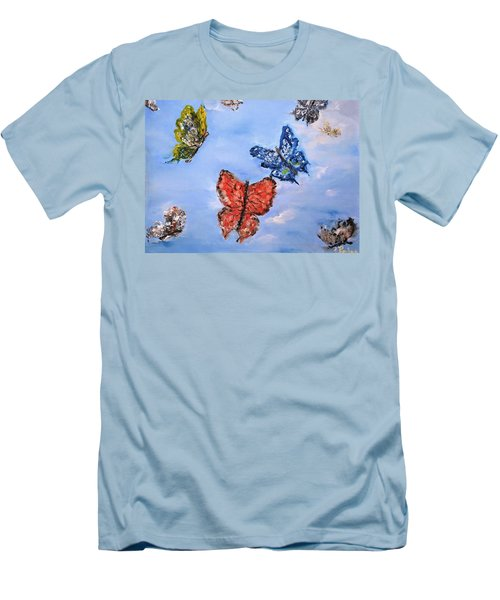 Men's T-Shirt (Slim Fit) featuring the painting Flying by Evelina Popilian