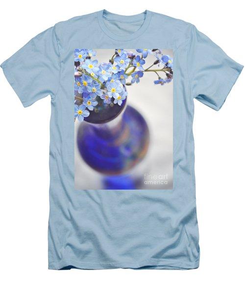 Forget Me Nots In Deep Blue Vase Men's T-Shirt (Slim Fit) by Lyn Randle