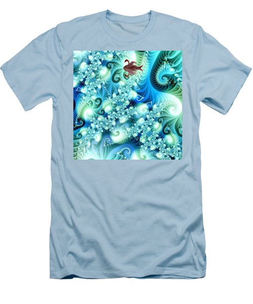 Men's T-Shirt (Slim Fit) featuring the digital art Fractal And Swan by Odon Czintos