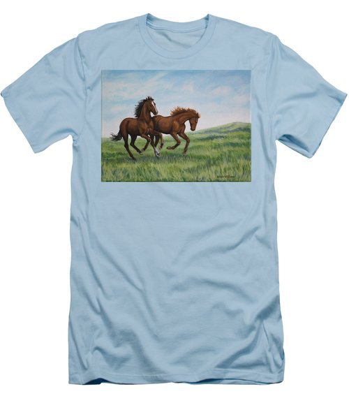 Men's T-Shirt (Slim Fit) featuring the painting Galloping Horses by Penny Birch-Williams