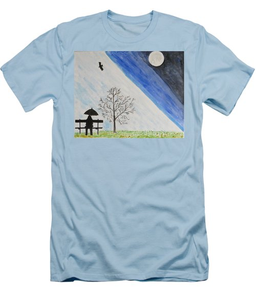 Men's T-Shirt (Slim Fit) featuring the painting Girl With A Umbrella by Sonali Gangane