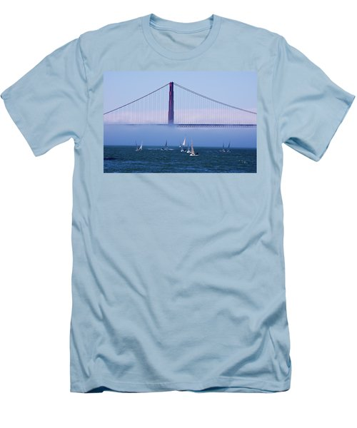 Men's T-Shirt (Slim Fit) featuring the photograph Golden Gate Windsurfers by Don Schwartz