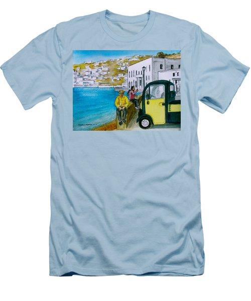 Greek Island Of Mykonis Men's T-Shirt (Slim Fit) by Frank Hunter