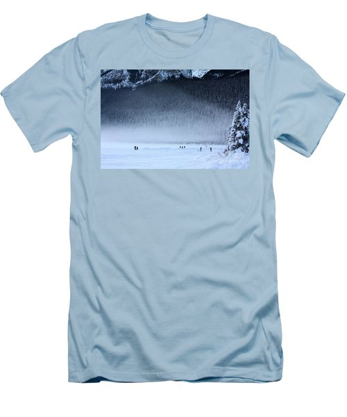 Men's T-Shirt (Slim Fit) featuring the photograph Hockey On Lake Louise by Alyce Taylor