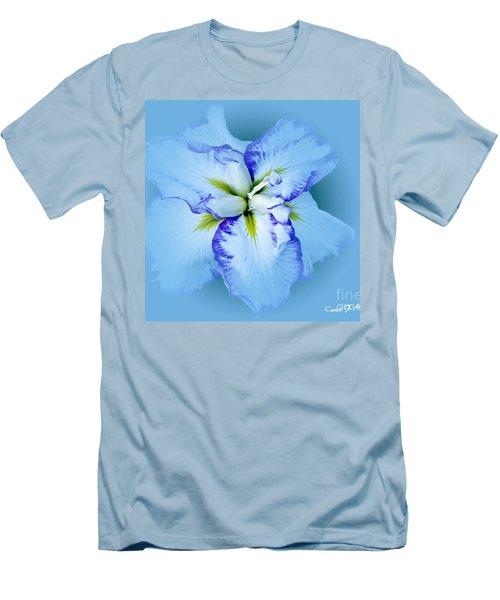Iris In Blue Men's T-Shirt (Slim Fit) by Carol F Austin