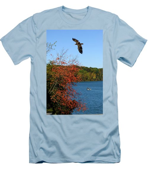 Men's T-Shirt (Slim Fit) featuring the photograph Juvenile And Fishermen by Randall Branham