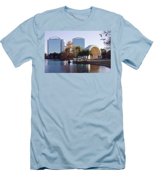 Men's T-Shirt (Slim Fit) featuring the photograph Lake Eola's  Classical Revival Amphitheater by Lynn Palmer
