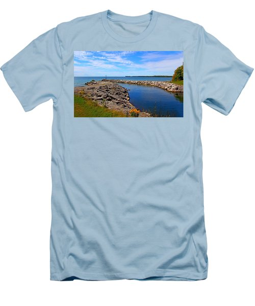 Men's T-Shirt (Slim Fit) featuring the photograph Lakeside Bend by Davandra Cribbie