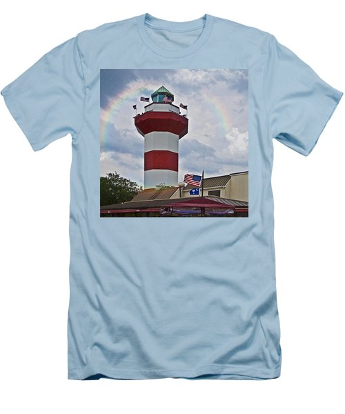 Lighthouse And Rainbow Men's T-Shirt (Slim Fit) by Susan Leggett