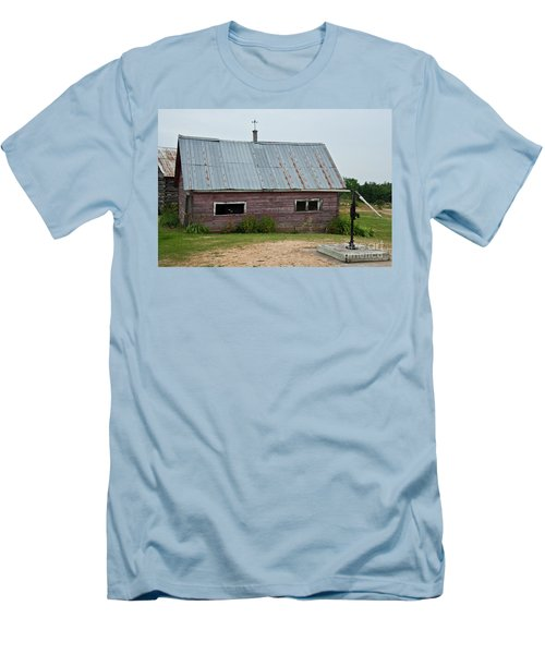 Men's T-Shirt (Slim Fit) featuring the photograph Old Wood Shed  by Barbara McMahon