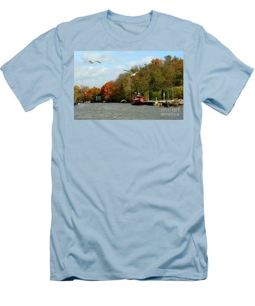 Men's T-Shirt (Slim Fit) featuring the photograph Port Dover Harbour by Barbara McMahon