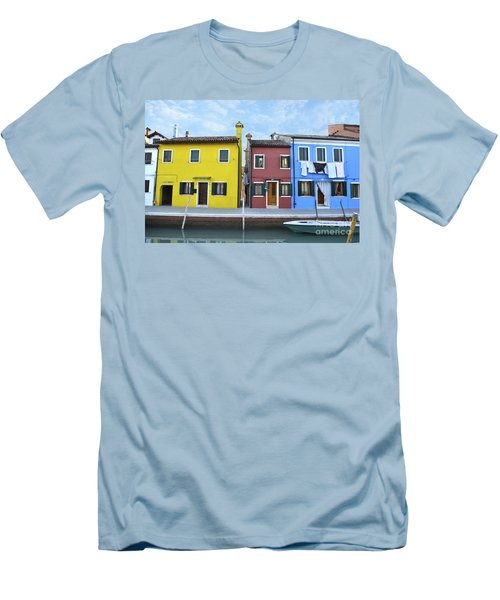Men's T-Shirt (Slim Fit) featuring the photograph Primary Colors In Burano Italy by Rebecca Margraf