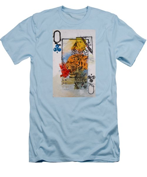 Men's T-Shirt (Slim Fit) featuring the painting Queen Of Clubs 4-52  2nd Series  by Cliff Spohn